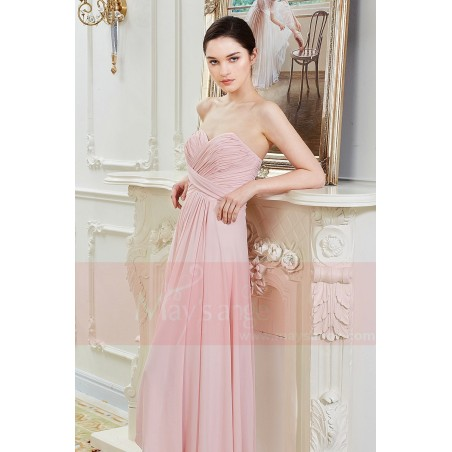 Robe Longue en Mousseline Fine Rose Pale - Ref L792 - 05