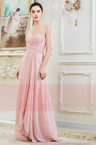 Robe Longue en Mousseline Fine Rose Pale L792 - L792 #1