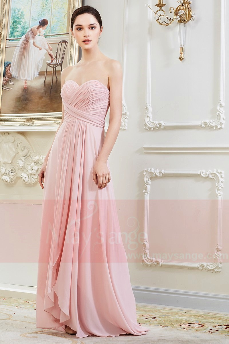 Robe Longue en Mousseline Fine Rose Pale - Ref L792 - 01
