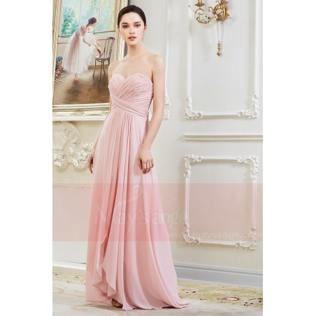 Robe Longue en Mousseline Fine Rose Pale - Ref L792 - 02