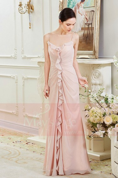 Pink evening dress - Floor-Length Prom Dress with Pleated Ruffle Line - L800 #1