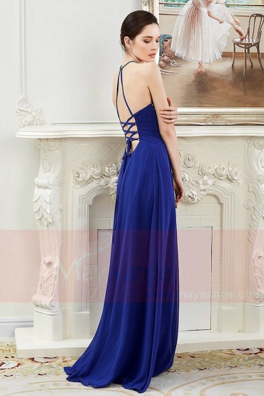 Blue evening dress - Open Back Chiffon-Halter Royal Blue Prom Dress - L802 #1