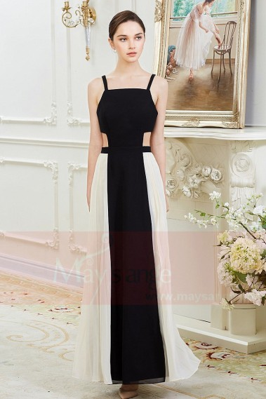 Black evening dress - Black And White Sexy Chiffon Evening Dresses - L801 #1