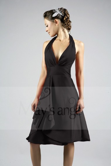 Long cocktail dress - Black cocktail dress simple neckline - C109 #1