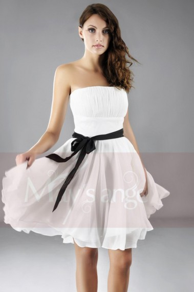 Strapless Short Party Dress With Black Belt - C111 #1