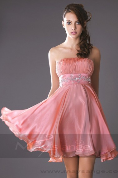 Cheap cocktail dress - Peach Strapless Cocktail Dress - C112 #1