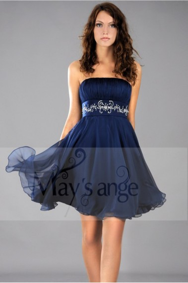 Cheap cocktail dress - Short Blue Wedding-Guest Dress With Shiny Belt - C113 #1