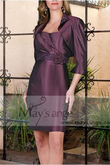 purple cocktail dress classic elegance with its bolero - C207 Promotions #1