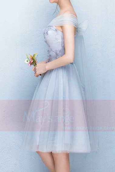 Strapless Sweetheart Gray Tulle Party Dress - C852 #1