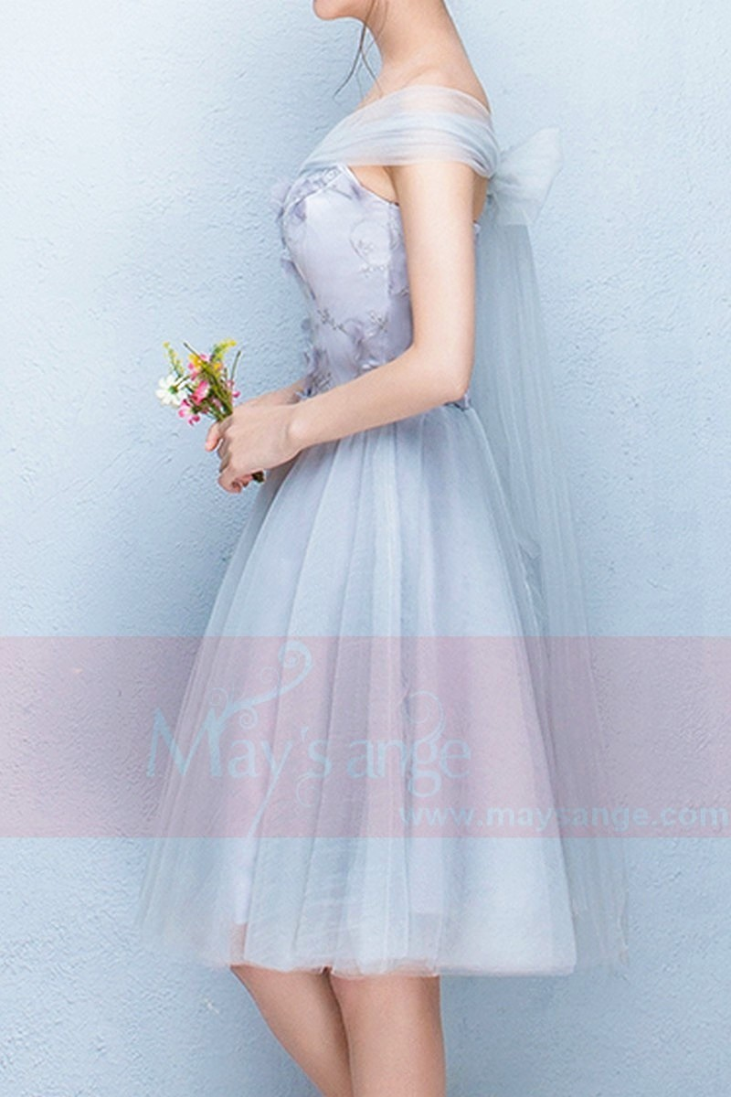 Strapless Sweetheart Gray Tulle Party Dress - Ref C852 - 01