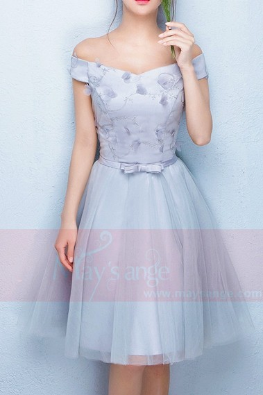 Off-The-Shoulder Silver Gray Tulle Party Dress - C853 #1