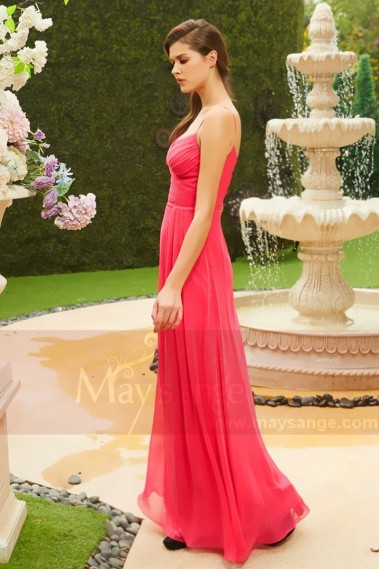Pink evening dress - Chiffon Cheap Formal Dresses With Straps - L808 #1