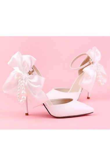 White Wedding Sandals Little Satin Knot - CH084 #1