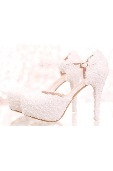 Chic Close-Toe White Lace Bridal Sandals - CH086 #1