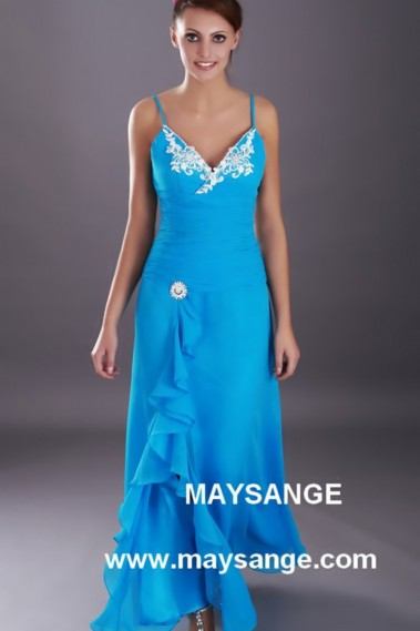 Evening Dress with straps - Long V Neckline Blue Summer Dress - L045 #1