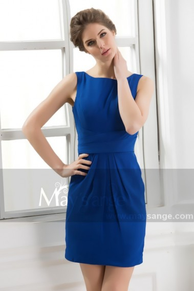 robe de cocktail bleu roi coupe ajuste C815 - C815 #1