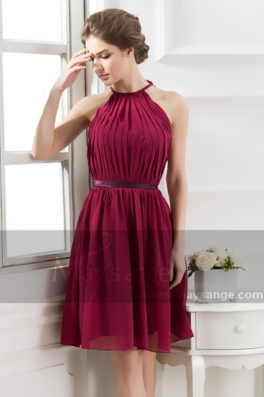 Backless cocktail dress - Open-Back Short Burgundy Party Dress With Pleated Bodice - C806 #1