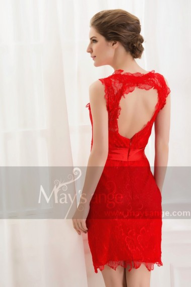 Robe de cocktail bretelle - Pétales de chrysantheme rouge fou dentelle dos nu robe de soirée - C543 #1