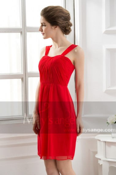 Affordable Short Red Homecoming Dress Draped Top With Straps - C562 #1