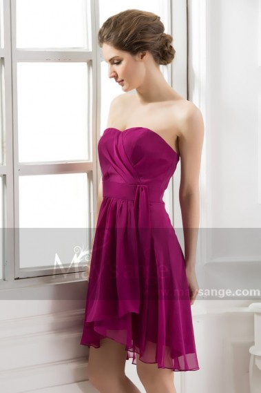 Long cocktail dress - Strapless Dress Sensual Purple C501 - C501 #1