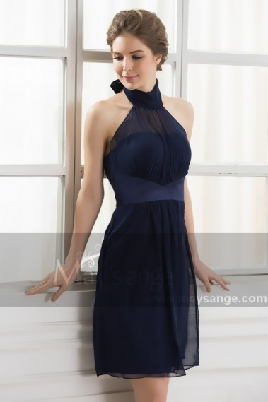 Backless cocktail dress - Midnight Blue Collar Party Dress - C566 #1