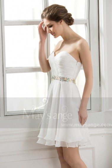 White Strapless Cocktail Dress Shiny Multicolor Stone Belt - C570 #1