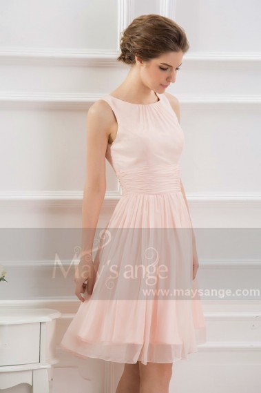 Elegant Evening Dress - SHORT PARTY DRESS PINK WITH TIED WAIST BELT - C794 #1