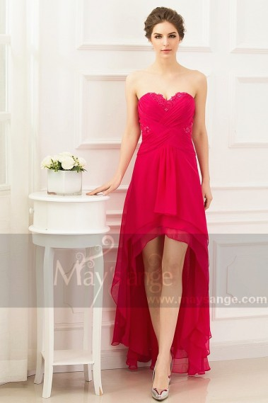 Pink evening dress - CHEAP SUMMER PINK DRESS HIGH LOW STYLE - L763 #1