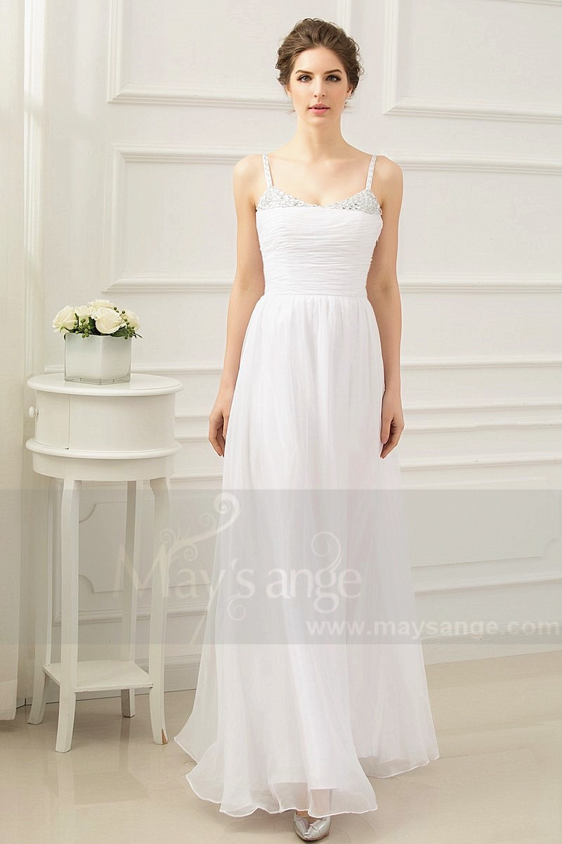 white dress long evening with straps draped bust - Ref L228 - 01