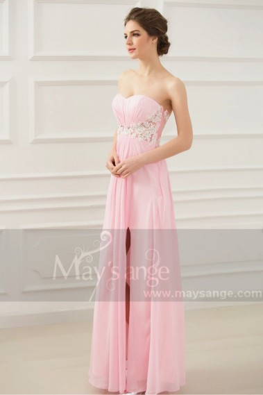 Pink evening dress - Long Sexy Pink Lace Dress With Slit - L131 #1