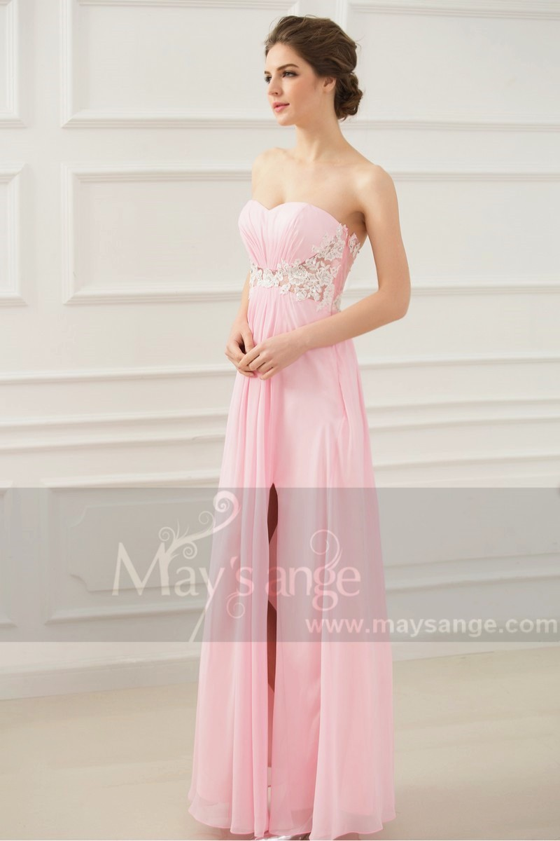 b08a4a9d307 Long Sexy Pink Lace Dress With Slit - Ref L131 - 01