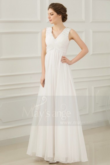 Evening Dress with straps - Soft Long White Evening Dress V Neckline - L202 #1