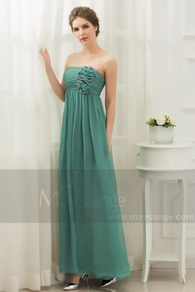 Green Cocktail Dress Sleeveless And Pleated Bodice With Flowers - L002 #1