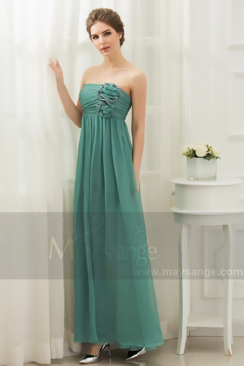 c8150c6308 Green Cocktail Dress Sleeveless And Pleated Bodice With Flowers - Ref L002  - 01