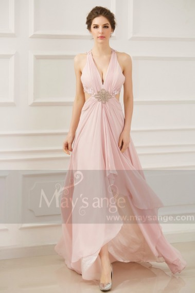 Open Back Sexy Powder Pink Evening Dresses With Slit
