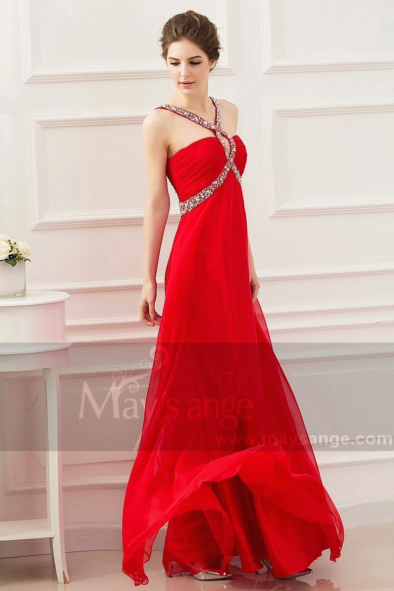 Robe cocktail longue rouge coquelicot maysange - Ref L530 - 01