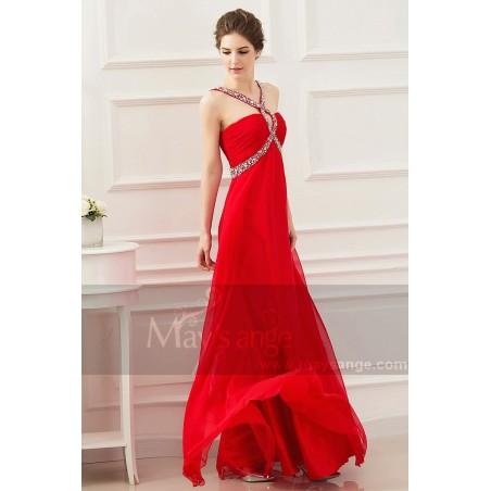 Robe cocktail longue rouge coquelicot maysange - Ref L530 - 03