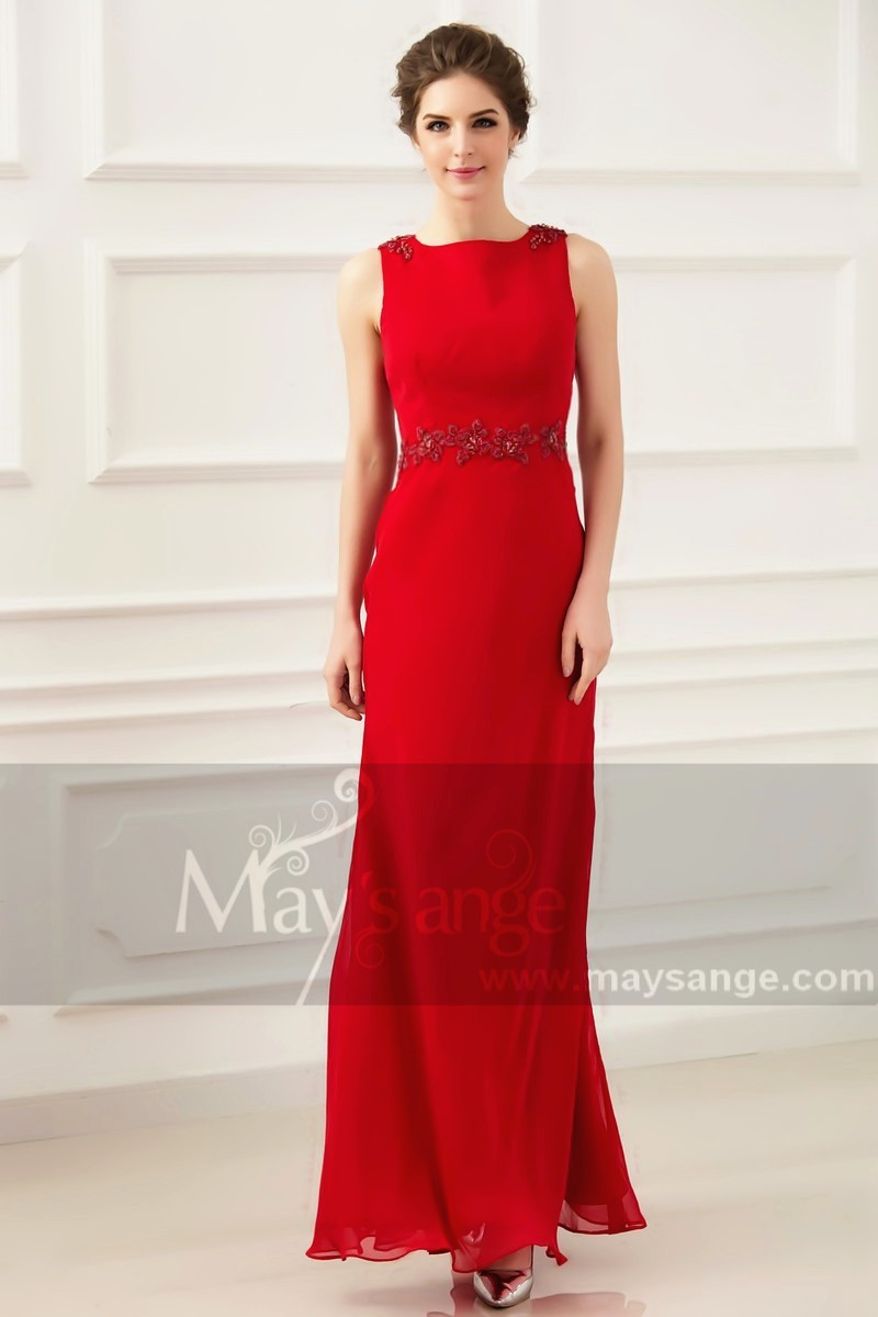 Long Red Wedding Guest Dress Sleeveless With Embroidered