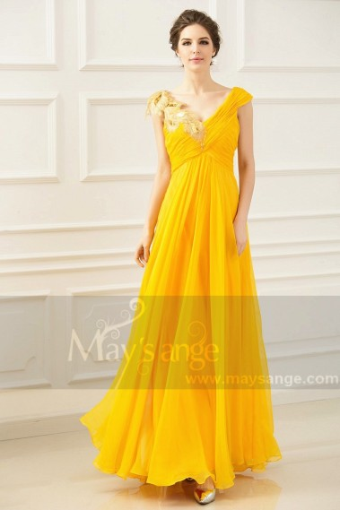 Long Chiffon Yellow Evening Dress V Neck With Golden Flower - L770 #1