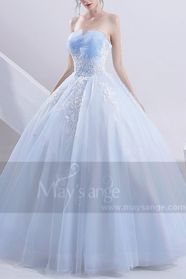 Long wedding dress - Turquoise Princess Bridal Dress With Ruffle Bodice - M382 #1