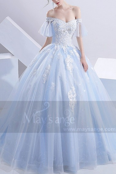 Long wedding dress - robe de mariage M387 bleu turquoise - M387 #1