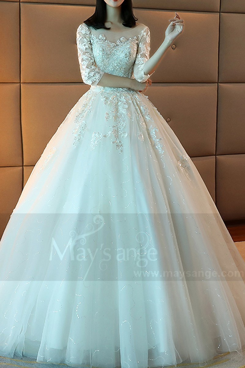 Tulle Princess Wedding Dress Long Illusion Sleeve With Train - Ref M373 - 01