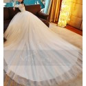 Tulle Princess Wedding Dress Long Illusion Sleeve With Train - Ref M373 - 04