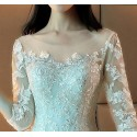 Tulle Princess Wedding Dress Long Illusion Sleeve With Train - Ref M373 - 03