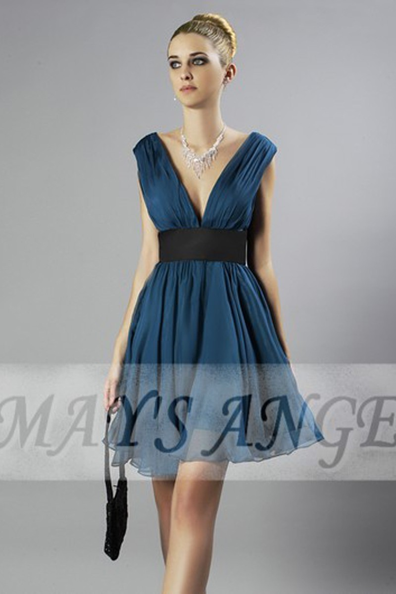 Short Chiffon Deep Blue Cocktail Dress With V-neck - Ref C122 - 01