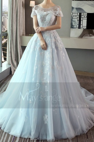 Turquoise Organza Princess Wedding Dress With Cap-Sleeve - M376 #1