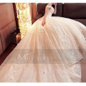 Champagne Off-The-Shoulder Organza Wedding Dress With Cathedral Train - Ref M378 - 04