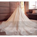 Champagne Off-The-Shoulder Organza Wedding Dress With Cathedral Train - Ref M378 - 03
