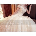Champagne Off-The-Shoulder Organza Wedding Dress With Cathedral Train - Ref M378 - 05