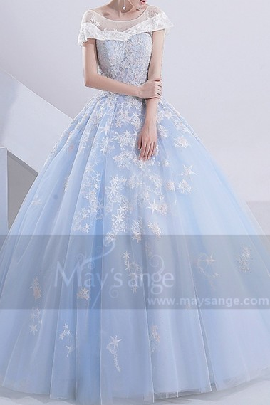 Gorgeous Ball Gown Turquoise Bridal Gown With Cap Sleeve - M388 #1
